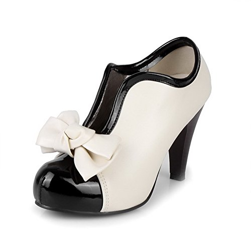 VogueZone009 Girls Closed Round Toe High Heel Platform Patent Leather Assorted Colors Pumps with Bowknot, White, 10 B(M) US