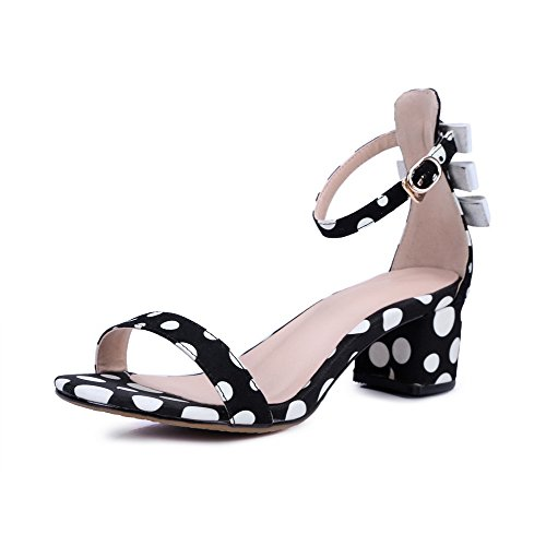 Buckle Open Women's Sandals Dots Polka Kitten Heels Toe WeenFashion Frosted Black 84w6n8x