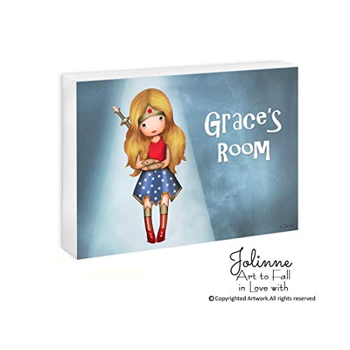 Wonder Woman Personalized Name Sign for Girls Room Gift Kids Bedroom Artwork Customized Hair and Skin Color 5x7/8x10/11x14 Ready To Hang