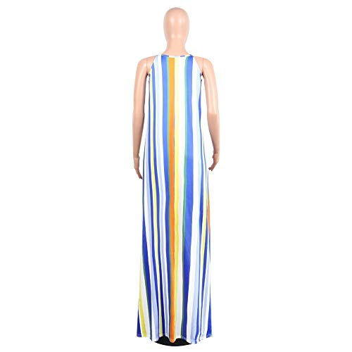 Mujeres Maxi para Party sin Suelta XXL Stripe Halter Color Mangas tamaño Swing Dress Azul Holiday túnica Hvzciuwrn Pwq7UxEgg
