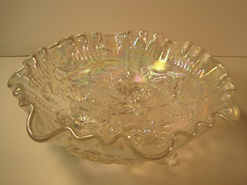 Vintage Carnival Glass Footed Candy Dish, 8 Inches