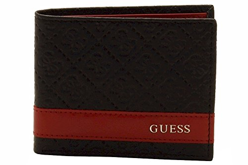 Guess Men's Leather Slim Bifold Wallet, Mesa ID Black/Red One Size from GUESS