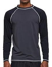 Arcweg Camiseta Deportivas Hombres Rash Guard con Filtro de Protección UPF 50+Mangas Largas Alta Elasticidad Secado Rápido Surf Natación Verano