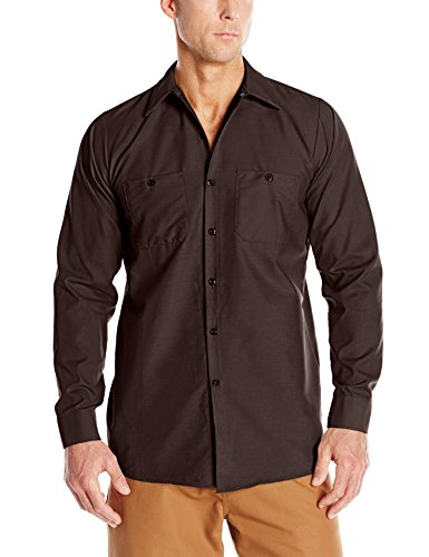 Red Kap Men's Industrial Work Shirt, Regular Fit, Long Sleeve, Chocolate Brown, 2X-Large Button Down Chocolate Apparel