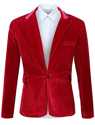FEHAAN Mens One Button Slim Fit Velvet Suit Sport Coats Jacket Wine Red