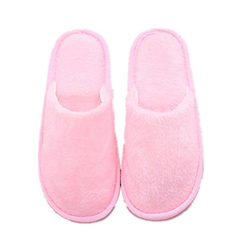 Pantofole, Woopower Donna Uomo Lungo Peluche Cotone Scarpe Pantofole Invernali Indoor (femminile) Rosa