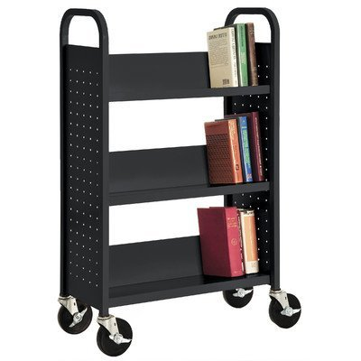 Sandusky SL327-09 Black Heavy Duty Welded Steel Single Sided Sloped Shelf Book Truck, 3 Shelves, 200 lb. Capacity, 46