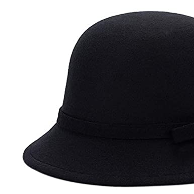 LAMEIDA Vintage Bowler Hats Fedora Cloche Bucket Hat Simple Soft Wool Winter Autumn Hat with Bowknot