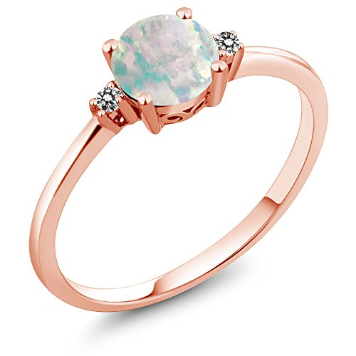 Gem Stone King 10K Rose Gold Engagement Solitaire Ring set with 0.33 Ct Round Cabochon White Simulated Opal and White Diamonds (Size 7)
