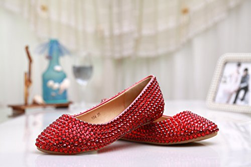 Fashion Flats 4 Wedding Satin MZLL030 MINITOO Red Evening Party Crystal Women's UK Prom Comfortable Handmade M 8OEaqa7xw