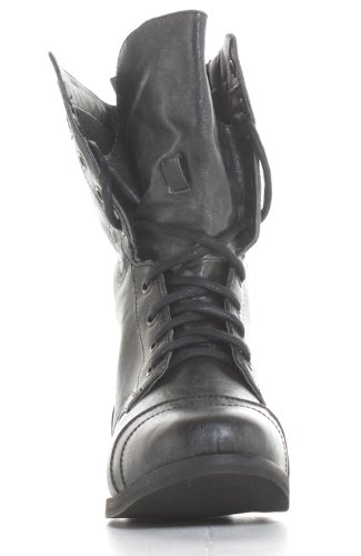 Ladies Womens Black Army Lace Up Combat Flat Military Ankle Boots Size 3-8 Black 0PnDdtcqnU
