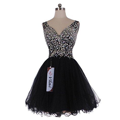 VILAVI A-line V-neck Straps Short Tulle Crystal Prom Dresses 10
