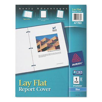 Report Cover, 3-Fasteners, 1/2 Cap, 8.5 x 11, Blue, 1/Each ()