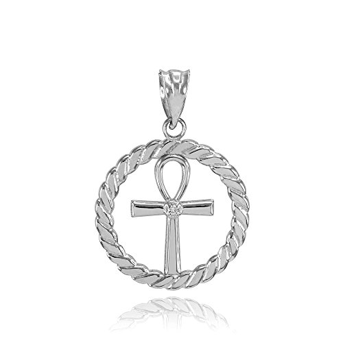 925 Sterling Silver Roped Circle Egyptian Ankh Cross with CZ ()