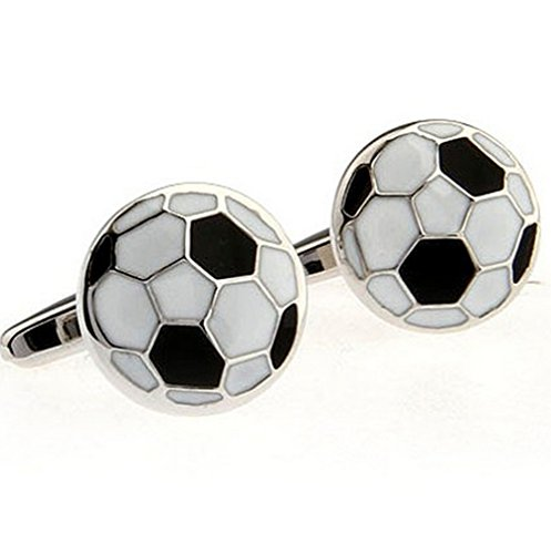 Football Soccer Ball Cufflinks Black and White Cufflinks for Football Players Soccer Fans Shirt Cuff Buttons (Ball Cufflinks)