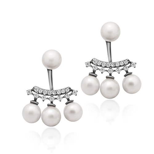 925 Sterling Silver Earrings, Ear Jacket Pearl Earrings, Pearl Ball Earrings, Classic Simulated Shell Pearl Stud Earrings 6mm Four White Round Pearl Bridal Earrings