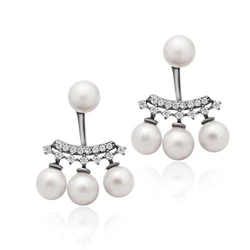 (925 Sterling Silver Earrings, Ear Jacket Pearl Earrings, Pearl Ball Earrings, Classic Simulated Shell Pearl Stud Earrings 6mm Four White Round Pearl Bridal Earrings)