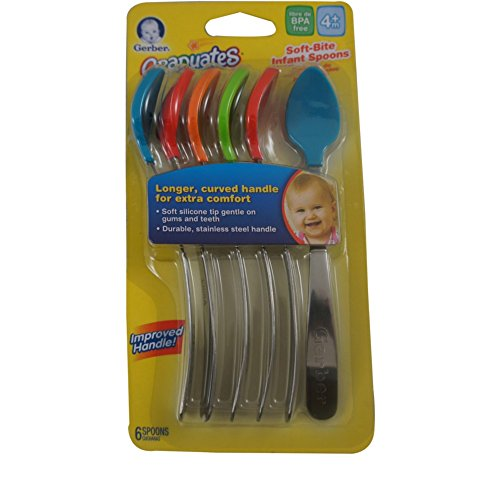 Gerber Graduates Spoons BPA Free, Silicone, 4+ Months 6 ea