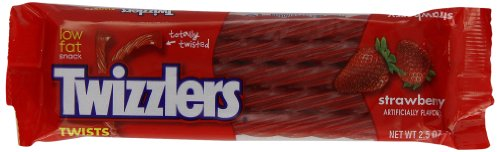 TWIZZLERS Twists, Strawberry Flavored Licorice Candy, 2.5 Ounce Packet (Pack of 36)