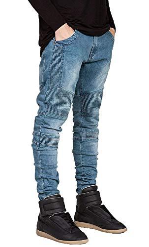 Giovane Fit In Pieghe A Stretch Lavati Motociclista Pantaloni Jeans Blau Strappati Da Casual Vintage Slim Denim Uomo 4Hw8RO