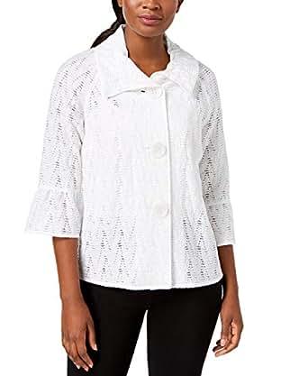 JM Collection Lace Jacket - White - Medium