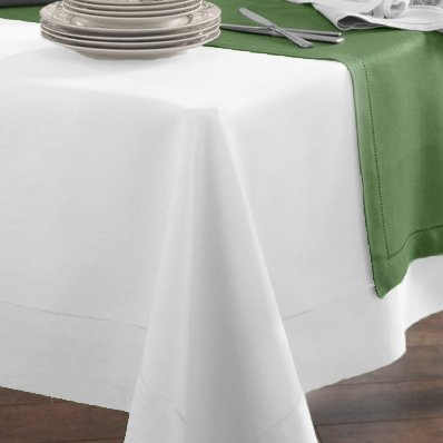 """Sferra Festival Hemstitched Linen Table Cloth (66"""" x 106"""") - White"""
