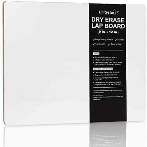 Dry Erase Lapboards, UnityStar 9 x 12 inches Dry Erase Lap Board Portable Classroom Whiteboard for Students Teachers Kids Writing Drawing, Single-Sided,0.4LBS