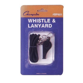 Champion Sports Plastic Whistle with Lanyard, Black/Silver (Champions Lanyard)