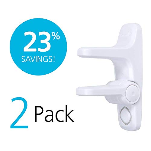 Safety 1st OutSmart Adhesive Child Proof Door Lever Lock with Decoy Button, 2 Pack, White