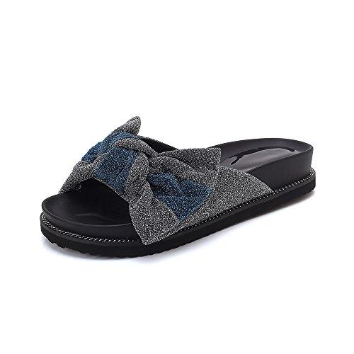 Queena Wheeler Fashion Summer Slipper Sandals Women Casual Beach Flip Flops Slides Shoe Flat Plus Size Sliver
