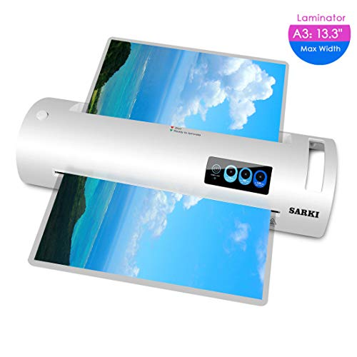 13'' Lminator Machine, A3/A4/A6 Lminator, Thermal Laminator with Jam-Release Switch, Fast Warm-up and Quick Laminating Speed for Home, Office and School (A3 laminator-White)