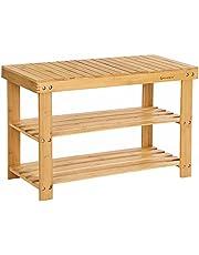 SONGMICS Shoe Rack Bench, 3-Tier Bamboo Shoe Organizer Storage Shelf, Holds 264 lb, Natural ULBS04N
