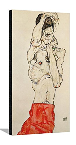 Standing Male Nude with Red Loincloth, 1914 Stretched Canvas Print by Egon Schiele - 19 x 35.5 in