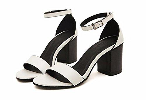 QIYUN.Z Zapatos Formales Bloque De Cuero De La PU Talon Nuevas Mujeres Atractivas Punta Abierta Del Tobillo Correa De Verano Blanco