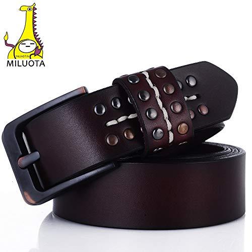 MILUOTA] Women's Dress Metal Belt Buckle Belt Genuine Leather Belts Black for Women Luxury Designer MU059