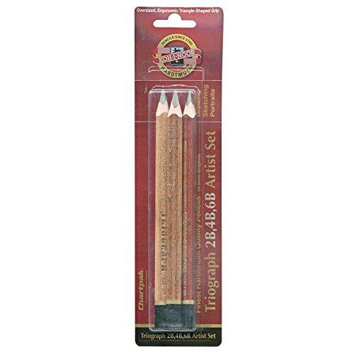 Koh-I-Noor Triograph Graphite Pencil Artist Set, 2B, 4B, 6B Degrees, Pack of 3 Pencils, Black (FA1830.3BC)