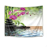LB Zen Tapestry Orchid Flowers with Stones and Green Bamboo in Spa Water Wall Hanging Blanket for Bedroom Living Room Dorm Wall Decor,60 W x 40 H Inches(Nature Scenery)
