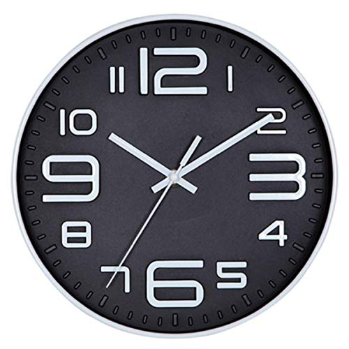 Foraineam 12-Inch Wall Clock Silent Non-Ticking Battery Operated Decorative Quartz Clock with Big 3D Numbers ()