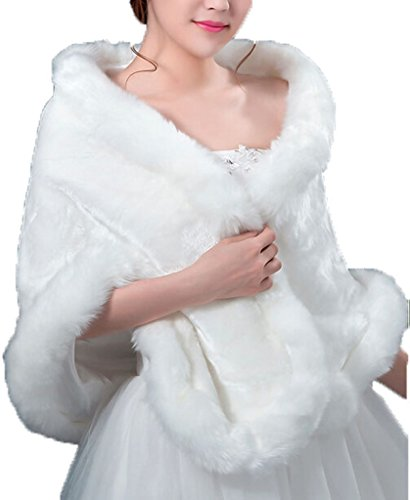 White Faux Fur Wrap Cape Stole Pashmina Shawl Shrug for Womens Winter
