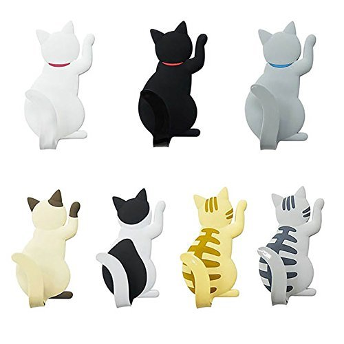 (ZRSE 7 Pack Strong Cute 3D Fun Cat Refrigerator Magnets with Tail Hook, Kitchen Decor Hanger,Office Whiteboard Stickers, Fridge Calendar Key Holder Clip for Kids)
