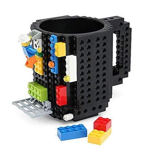 Brick Mugs [Updated Version] Fubarbar 12 oz Coffee Cups Funny Tea Mug Beverage Cup Built-on Building Bricks enjoy Creative Time (Black)