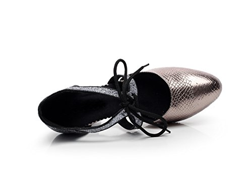 Latin Lace Dance Tango Minishion Pumps Synthetic up Women's Tie Grey Salsa QJ7047 zqEwAqY