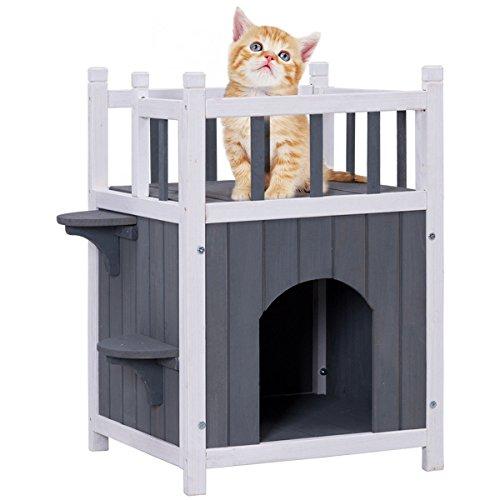 Wooden Cat House (Tangkula Cat House 2 Story Wood Outdoor Weatherproof Pet Kitten Condo Shelter)
