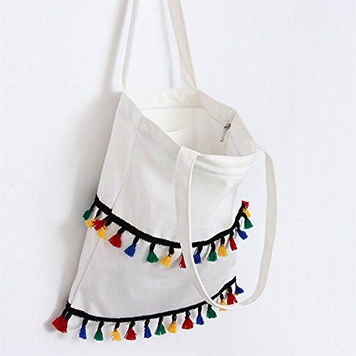 with Handbags Shoulder Bag Canvas Wicemoon Tote Tassel Zipper Student White Lovely Shopping Packbag xqnvXU