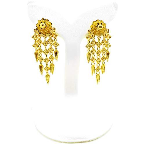 (Dangle Earrings 23k 24k Thai Baht Yellow Gold Plated Filled Earrings Design From Thailand, Thai Dress, The Wedding, Women Jewelry)
