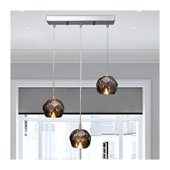 Fancy Crystal Globe Pendant Lighting, Nickel Plating Indoor Decorative Ceiling Pendant Light Fixture for Above Dinning… - ATTRACTIVE LAMPSHADE: Characteristic beautiful modern design crystal lampshade, this pendant lighting is capable of providing you both brightness and charm, it would be an eye-catching fixture for your house. WIDELY APPLICATION: beautiful crystal shade, perfect for kitchen, dining room, living room, bedroom,l kitchen island and else where you want it to be installed EASY INSTALLATION: Hard wired mounted, just connect the wires and then secure the mounting bracket and the canopy and done, just a few simple and easy steps, you can get this pendant lighting properly fixed - kitchen-dining-room-decor, kitchen-dining-room, chandeliers-lighting - 4128ddvkaZL. SS570  -