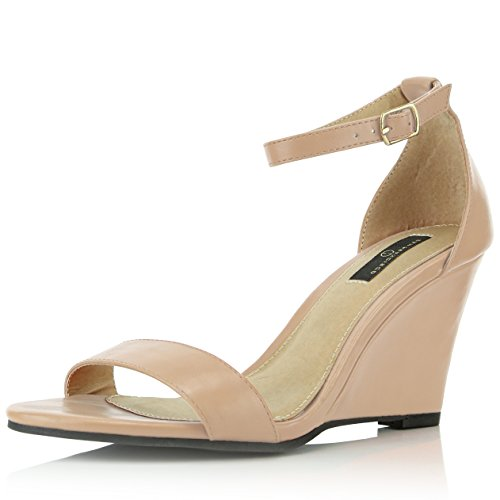 DailyShoes Women's Ankle Open Toe Wedge Fashion Shoes, Beige PU, 8 B(M) ()