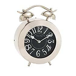 Benzara Distinctively Cute Stainless Steel Table Clock by Benzara