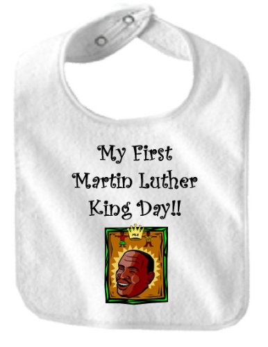 MY FIRST MARTIN LUTHER KING DAY - BigBoyMusic Baby Designs - Bibs - White Bib -