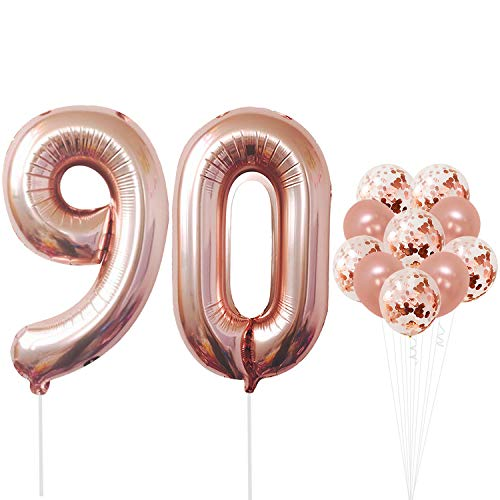 Rose Gold 90 Number Balloons - Large, 9 and 0 Mylar Rose Gold Balloons, 40 Inch | Extra Pack of 10 Latex Baloons, 12 Inch | Great 90th Birthday Party Decorations| 90 Year Old Rose Gold Party Supplies]()